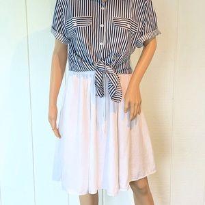 White Linen Full Skirt